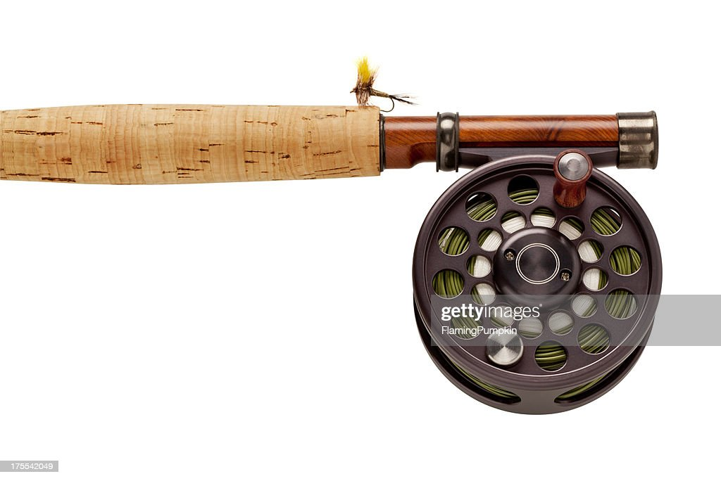 Flyfishing rod reel on white background stock photo for White fishing rod