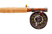 Fly-Fishing Rod & Reel on White Background.