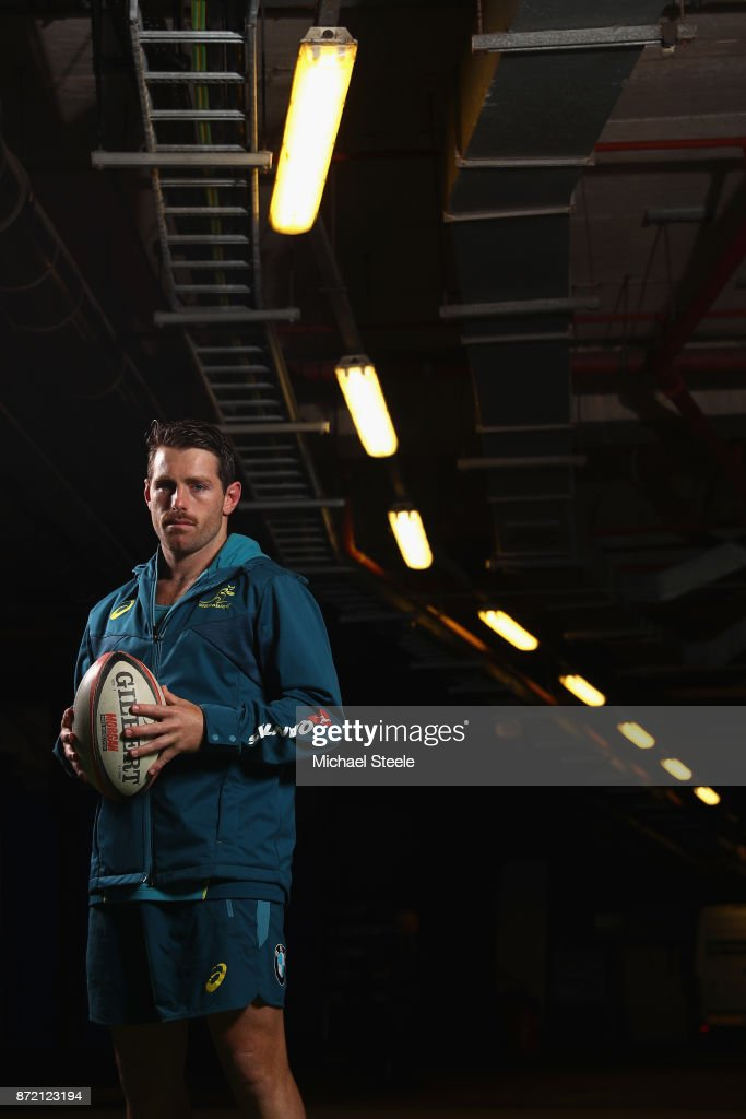 Flyhalf Bernard Foley poses for a portrait following the Australia training session at Cardiff Arms Park on November 9, 2017 in Cardiff, Wales.