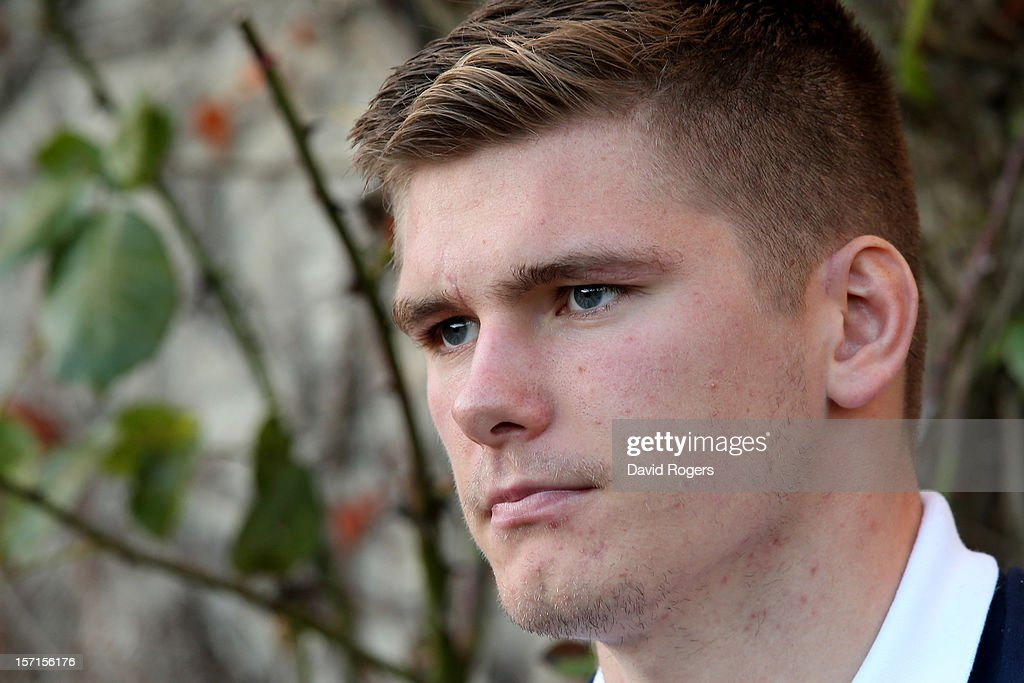 Flyhalf Owen Farrell speaks to the media following the England training session at Pennyhill Park on November 29, 2012 in Bagshot, England.