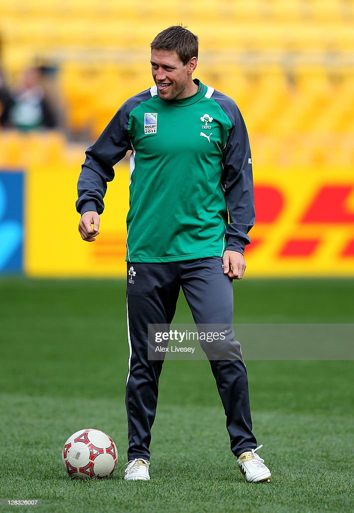 Flyhalf <a gi-track='captionPersonalityLinkClicked' href=/galleries/search?phrase=Ronan+O%27Gara&family=editorial&specificpeople=206865 ng-click='$event.stopPropagation()'>Ronan O'Gara</a> kicks a football during an Ireland IRB Rugby World Cup 2011 captain's run at Wellington Regional Stadium on October 7, 2011 in Wellington, New Zealand.
