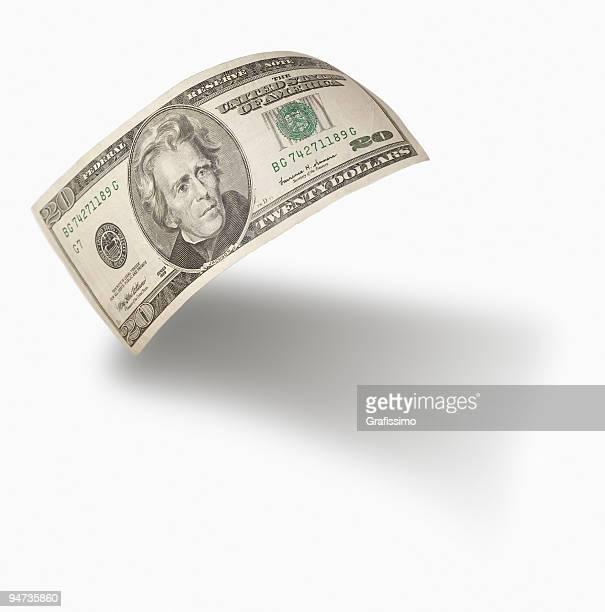 Flying 20 dollar bill