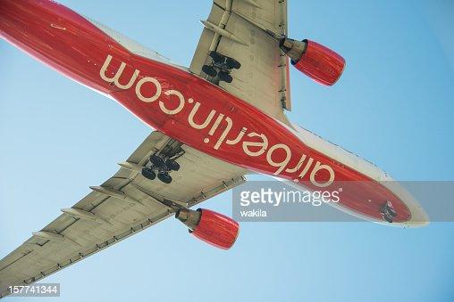 flying aeroplane Air Berlin from below