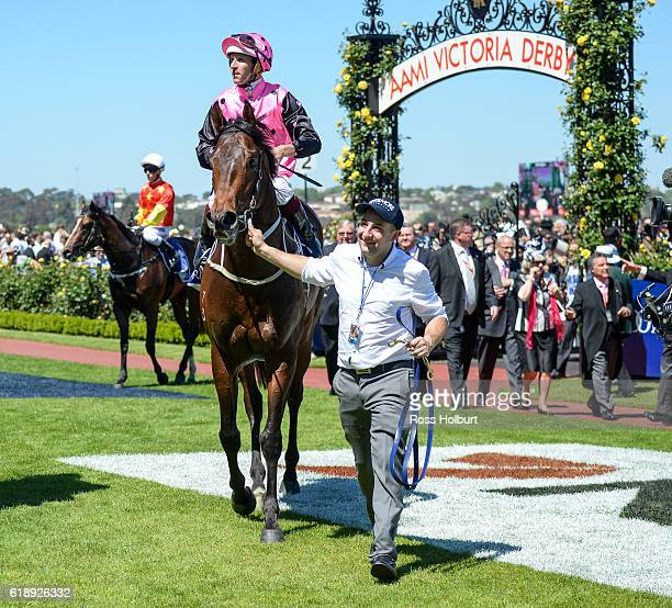 Flying Artie ridden by Hugh Bowman returns to scale after winning Coolmore Stud Stakes at Flemington Racecourse on October 29 2016 in Flemington...