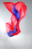 Flying blue and red silk