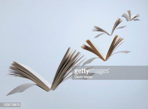 Flying books : Stock Photo