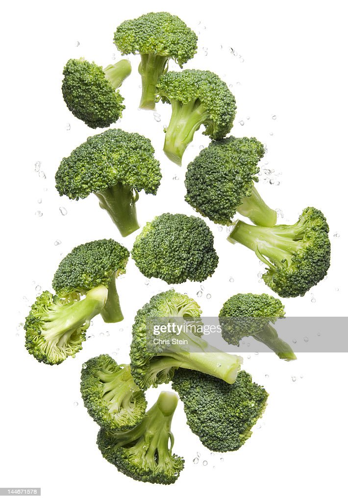 Flying Broccoli : Stock Photo