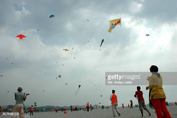 Flying colorful kite in the sky
