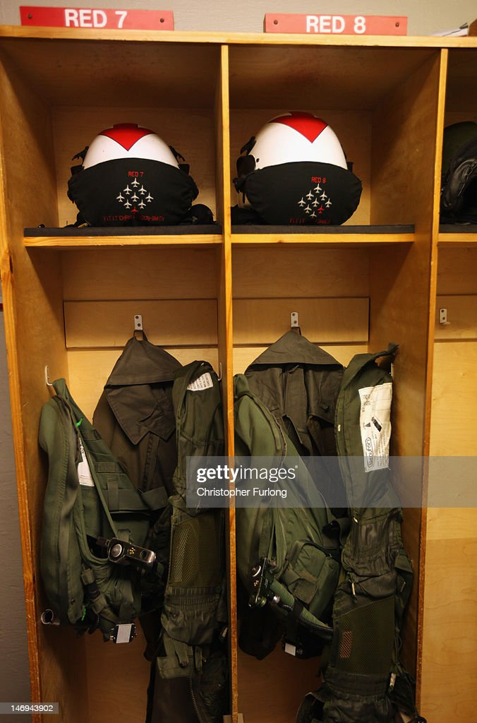 Flying equipment of the Red Arrows is stowed in lockers at RAF Scampton on June 22, 2012 in Scampton, England. The famous Royal Air Force Red Arrows are perfecting their routine for a fly past next week when the Olympic torch arrives in Norfolk and also for an audience of millions during the opening ceremony of the London 2012 Olympics.
