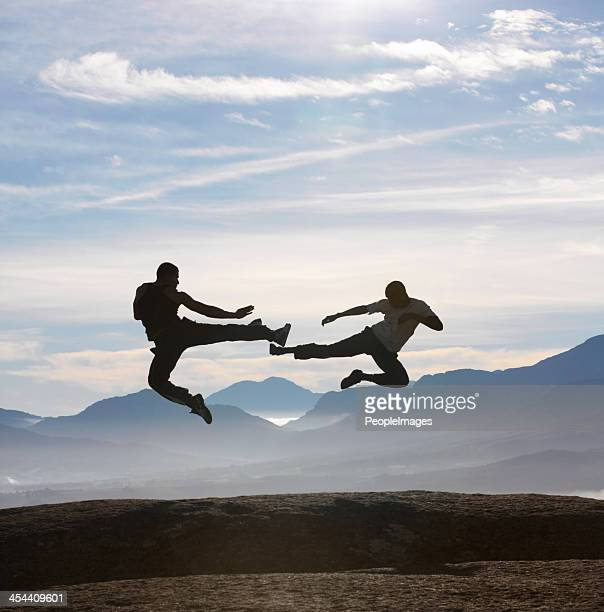 Flying feet on a mountain