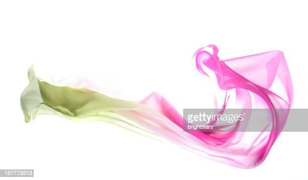 フラインググラデーション緑色からピンクのシルク