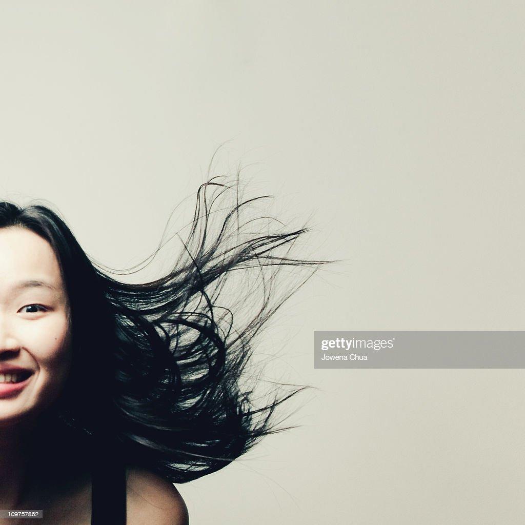 Flying Hair Portrait : Stock Photo