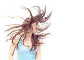 flying hair women