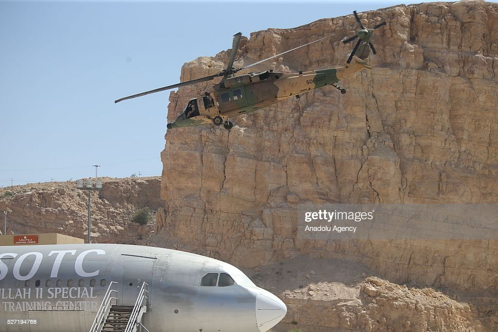 Flying helicopter is seen during the 8th Annual International Warrior Competition at the King Abdullah Special Operations Training Centre in Amman, Jordan on May 2, 2016.