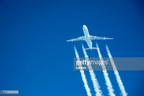 flying high. Commercial jet at altitude
