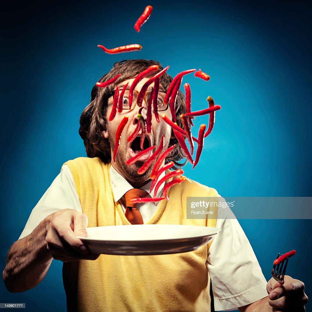 Flying Hot Peppers Nerd : Stock Photo