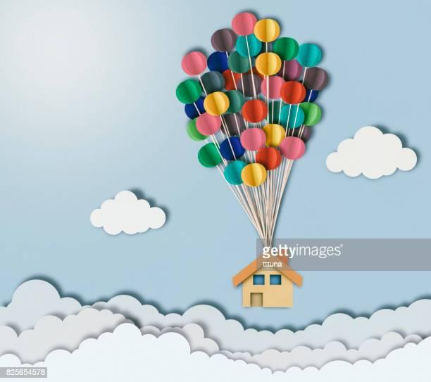 紙のカット スタイル、雲の上の飛行家