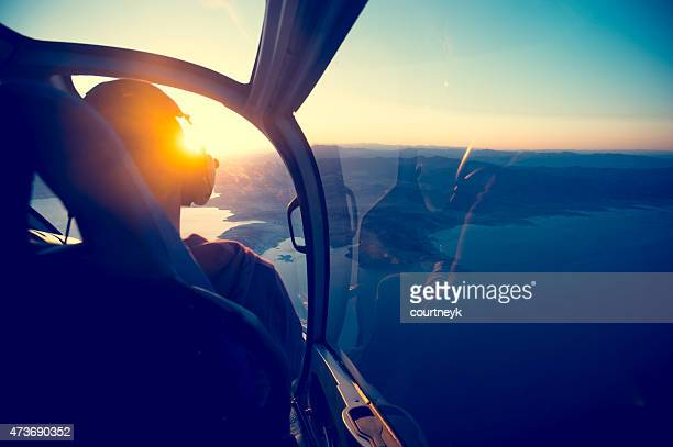 Flying in a helicopter over lake mead in Arizona.