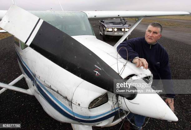 Flying instructor Steve Clarehugh at Eshott airfield Thursday March 9 with his 4x4 car and a light aircraft he helped guide to the airfield in Felton...