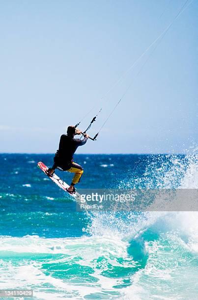 Flying kite surfer