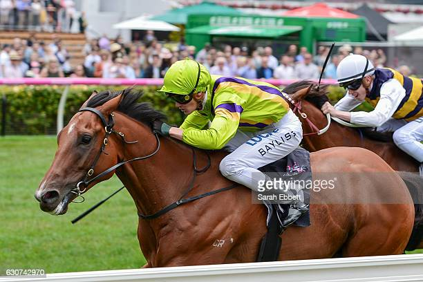 Flying Light ridden by Regan Bayliss wins the Straight Draw Handicap at Flemington Racecourse on January 01 2017 in Flemington Australia