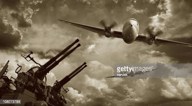 Voar militar aeronaves e metralhadoras
