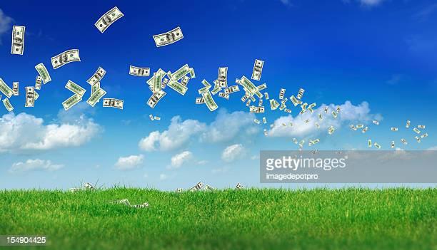 flying money over landscape