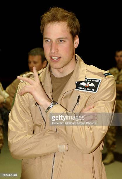Flying Officer William Wales Prince William visits Kandahar Airfield during the final phase of his training with the Royal Air Force on April 28 2008...