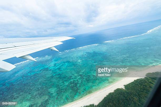 Flying over a Japanese tropical island