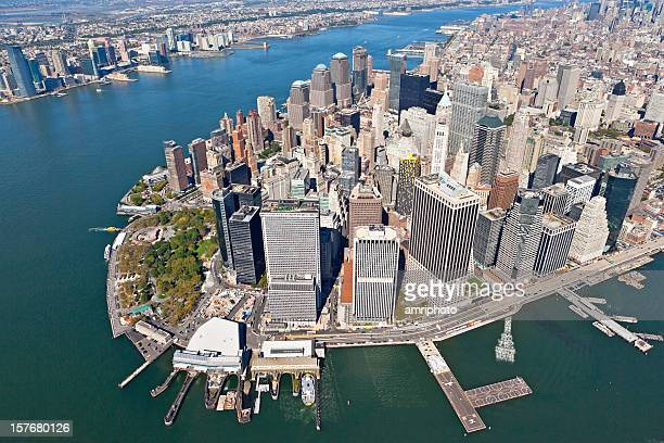 flying over downtown manhattan
