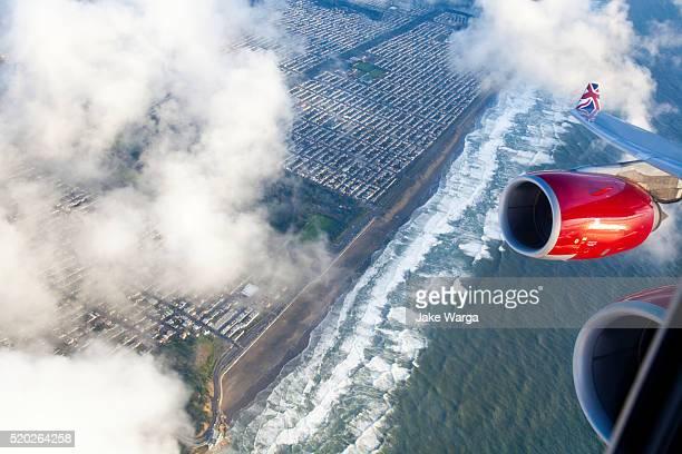 Flying over San Francisco coastline on Virgin Airways flight