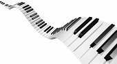 """""""Music concept, a flying wave of piano keys. Rendered, isolated on white. You may also like:"""""""