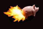 Flying piggy bank on fire