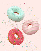 flying Pink and Blue doughnuts and sprinkled with Clipping path 3d Illustration.