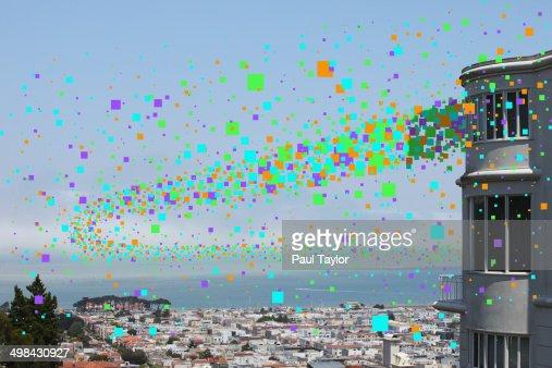 Flying Pixels Over City