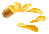 Flying potato slice into potato chips isolated on white background