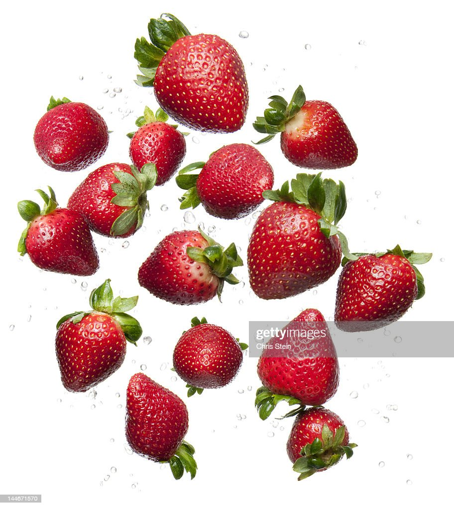 Flying Strawberries : Stock Photo