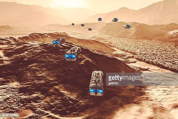 Vola sopra paesaggio alieno UFO strano
