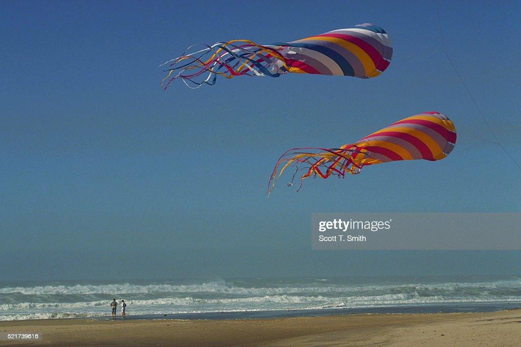 Flying Windsocks on Ocean Beach