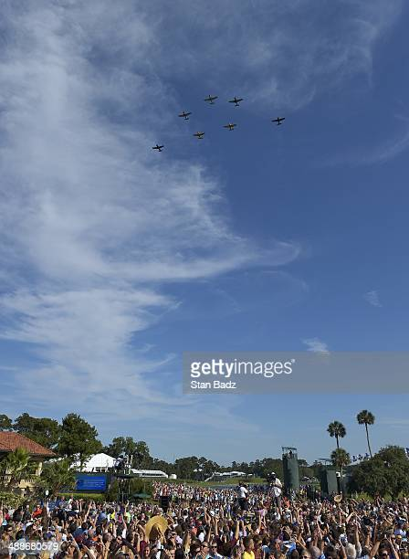 A flyover is seen on the 18th hole before the start of country recording artist Jake Ownen concert during THE PLAYERS Championship on THE PLAYERS...