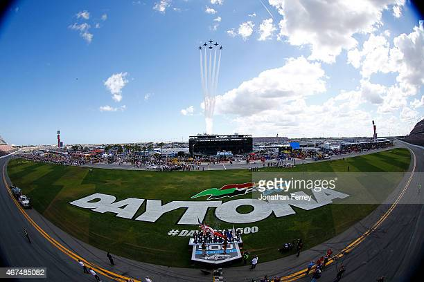 A flyover takes place during the NASCAR Sprint Cup Series 57th Annual Daytona 500 at Daytona International Speedway on February 22 2015 in Daytona...