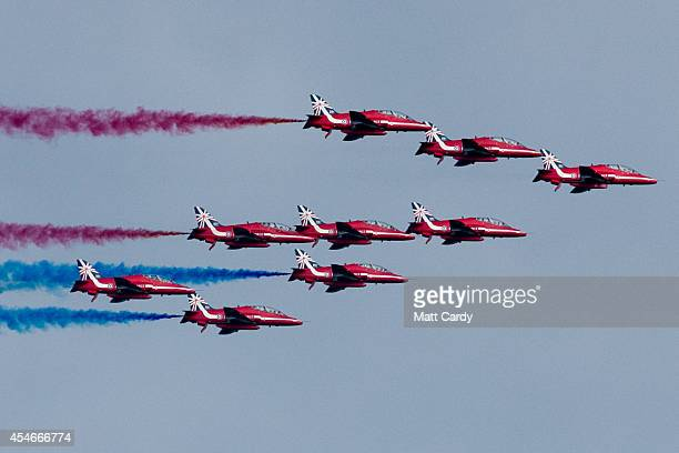 A flypast by the Red Arrows is seen above the Celtic Manor Resort on September 5 2014 in Newport Wales Leaders and senior ministers from around 60...