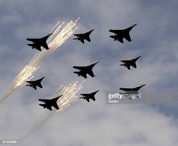 A flypast takes place above Red Square during the annual Victory Day military parade on May 09 2008 in Moscow Russia Over 26 million Soviet soldiers...