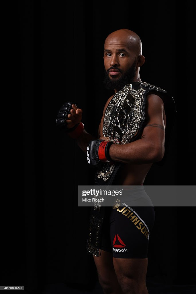 UFC flyweight champion Demetrious Johnson poses for a portrait backstage during the UFC 191 event inside MGM Grand Garden Arena on September 5, 2015 in Las Vegas, Nevada.