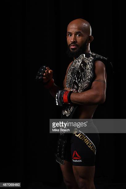 UFC flyweight champion Demetrious Johnson poses for a portrait backstage during the UFC 191 event inside MGM Grand Garden Arena on September 5 2015...