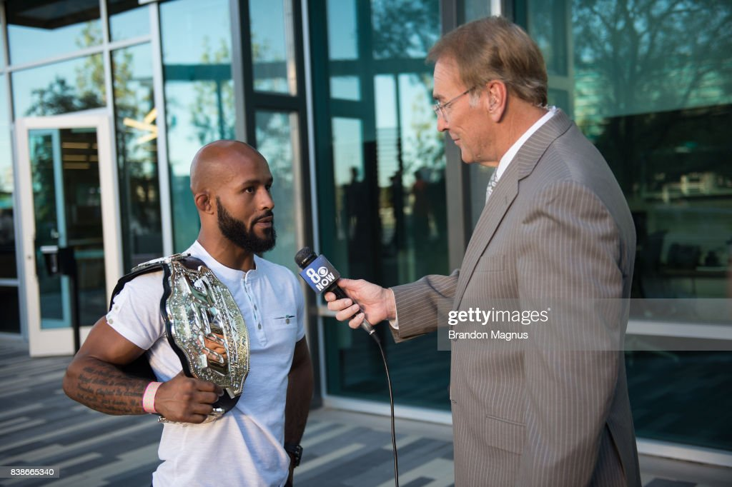 UFC flyweight champion Demetrious Johnson speaks to the media during the UFC 215 & UFC 216 Title Bout Participants Las Vegas Media Day at the UFC Headquarters on August 24, 2017 in Las Vegas, Nevada.