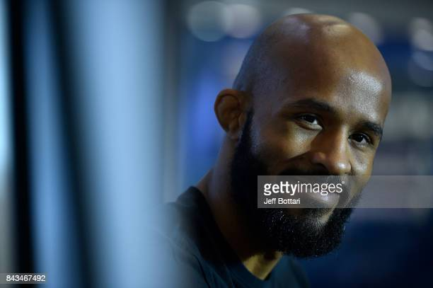 UFC flyweight champion Demetrious Johnson speaks to the media during the UFC 215 Ultimate Media Day at Rogers Place on September 6 2017 in Edmonton...