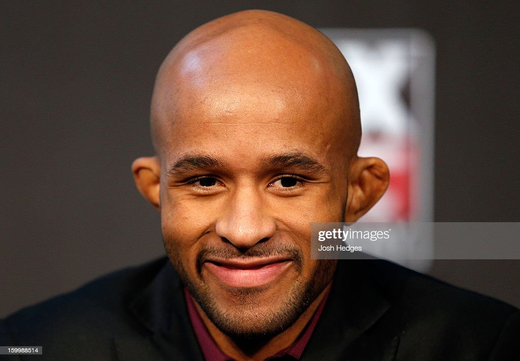 UFC flyweight champion Demetrious 'Mighty Mouse' Johnson interacts with media during the UFC on FOX press conference on January 24, 2013 at the United Center in Chicago, Illinois.