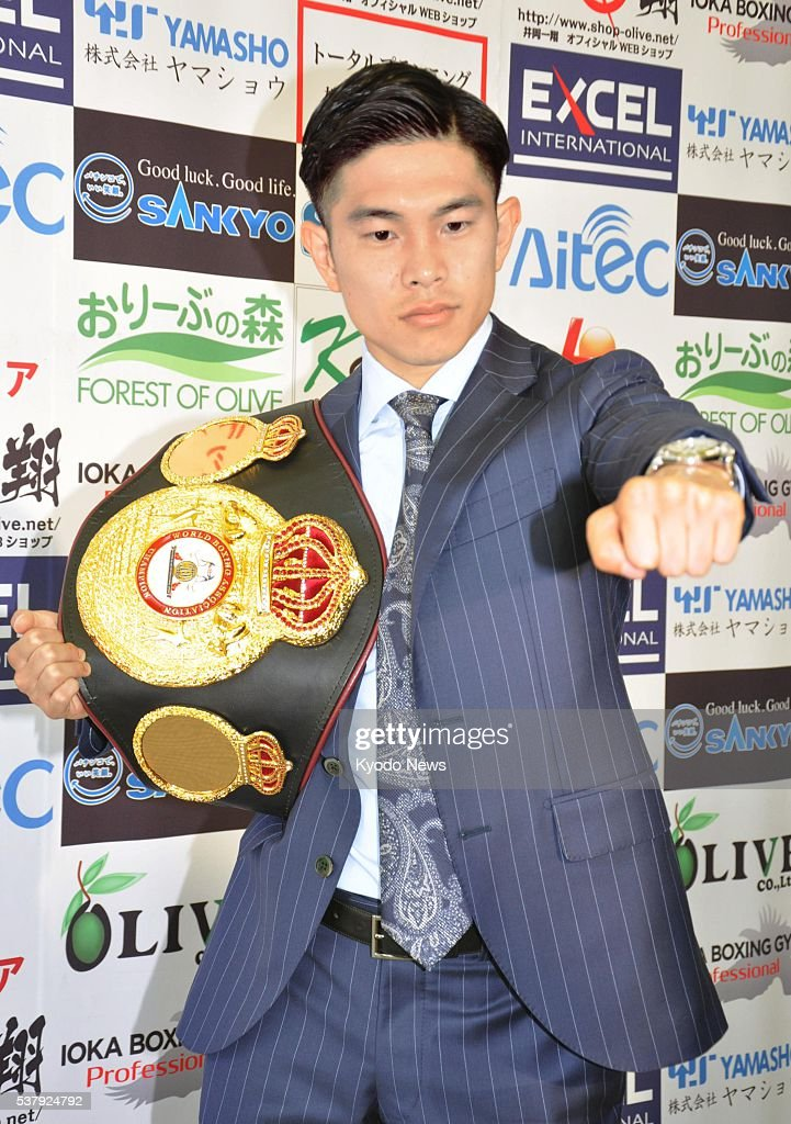 WBA flyweight champion <a gi-track='captionPersonalityLinkClicked' href=/galleries/search?phrase=Kazuto+Ioka&family=editorial&specificpeople=7488576 ng-click='$event.stopPropagation()'>Kazuto Ioka</a> of Japan poses for photos in Osaka on June 3, 2016. Ioka will make his third title defense on July 20 against seventh-ranked Nicaraguan Keyvin Lara in Osaka.
