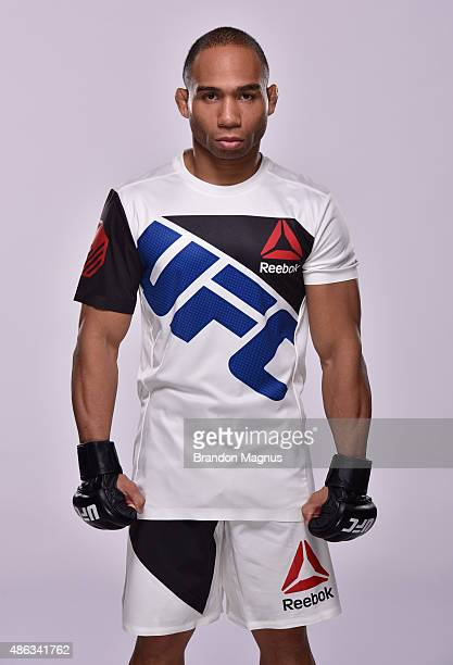 UFC flyweight John Dodson poses for a portrait during a UFC photo session on September 2 2015 in Las Vegas Nevada
